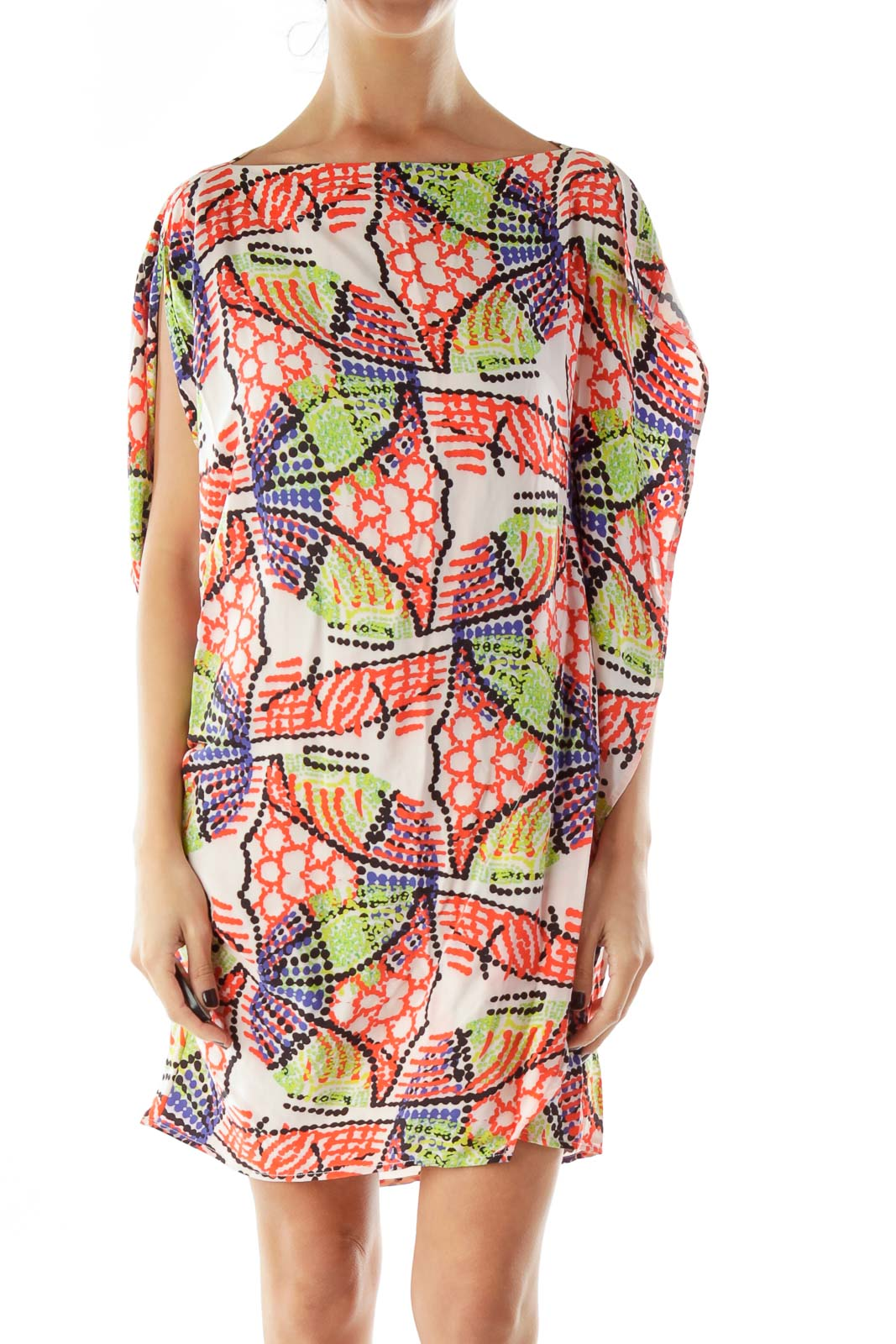 Red Green Blue Printed Shift Dress