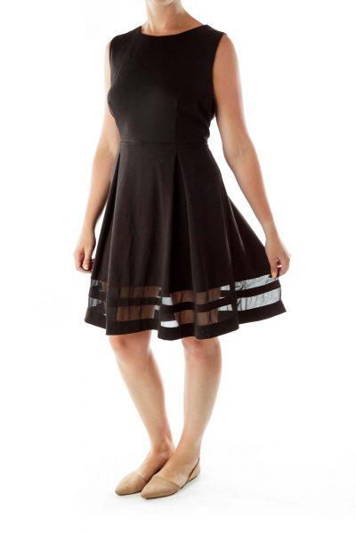 Black Sleeveless Round Neck Work Dress