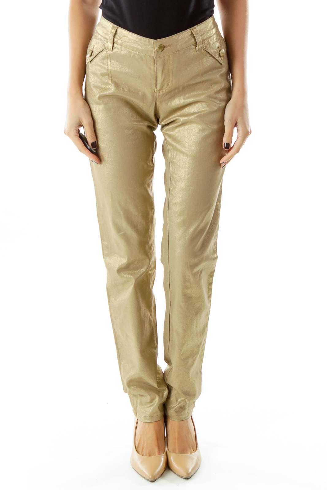 Gold Shiny Skinny Jeans