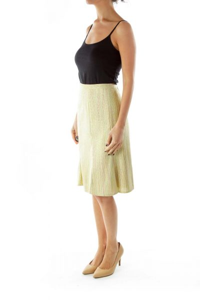 Green Yellow Striped Midi Skirt