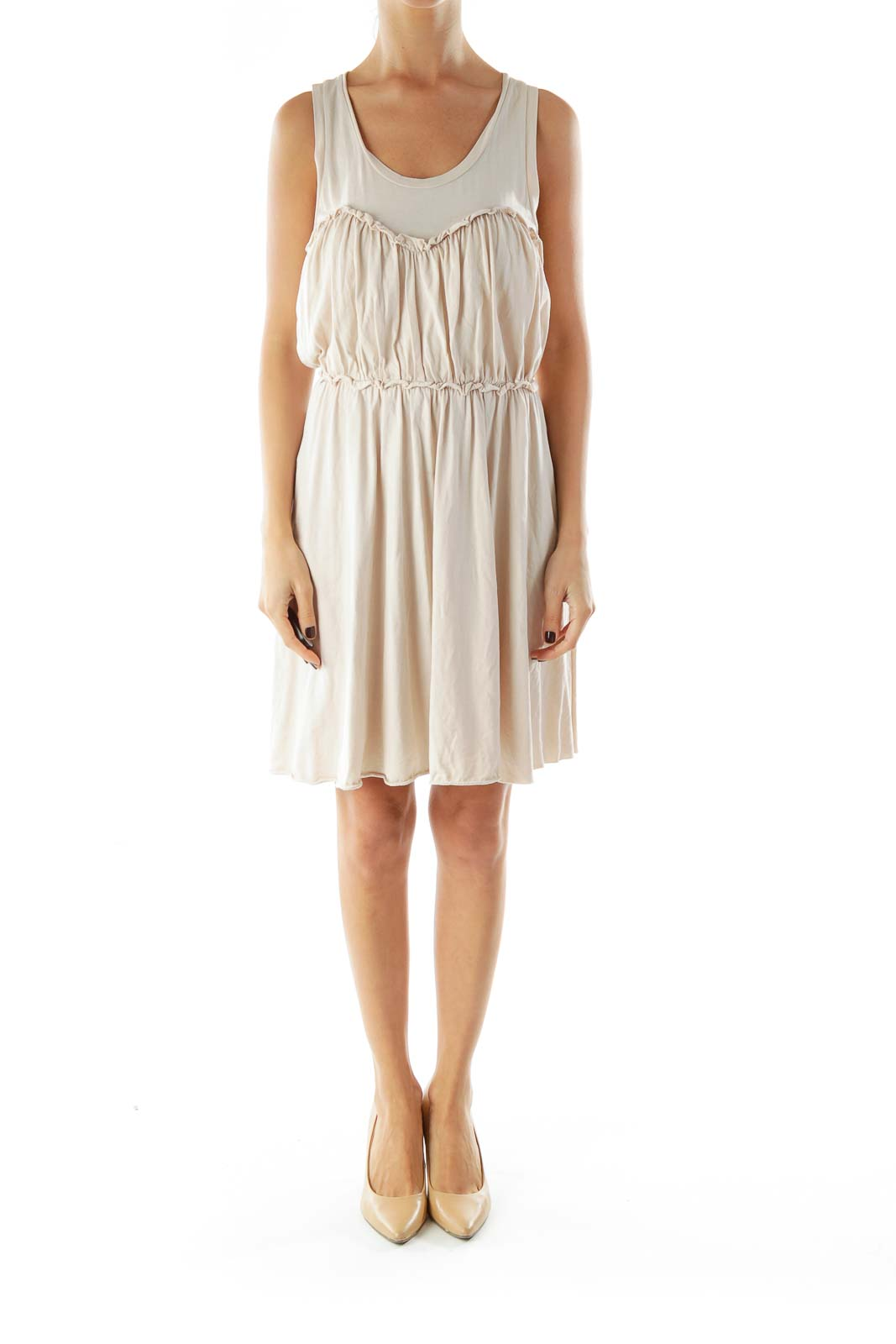 Beige Scrunch Detail Day Dress