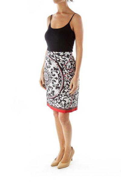Black/Red Printed A Line Midi Skirt