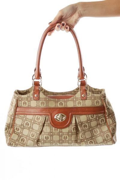 Brown Beige Monogrammed Shoulder Bag