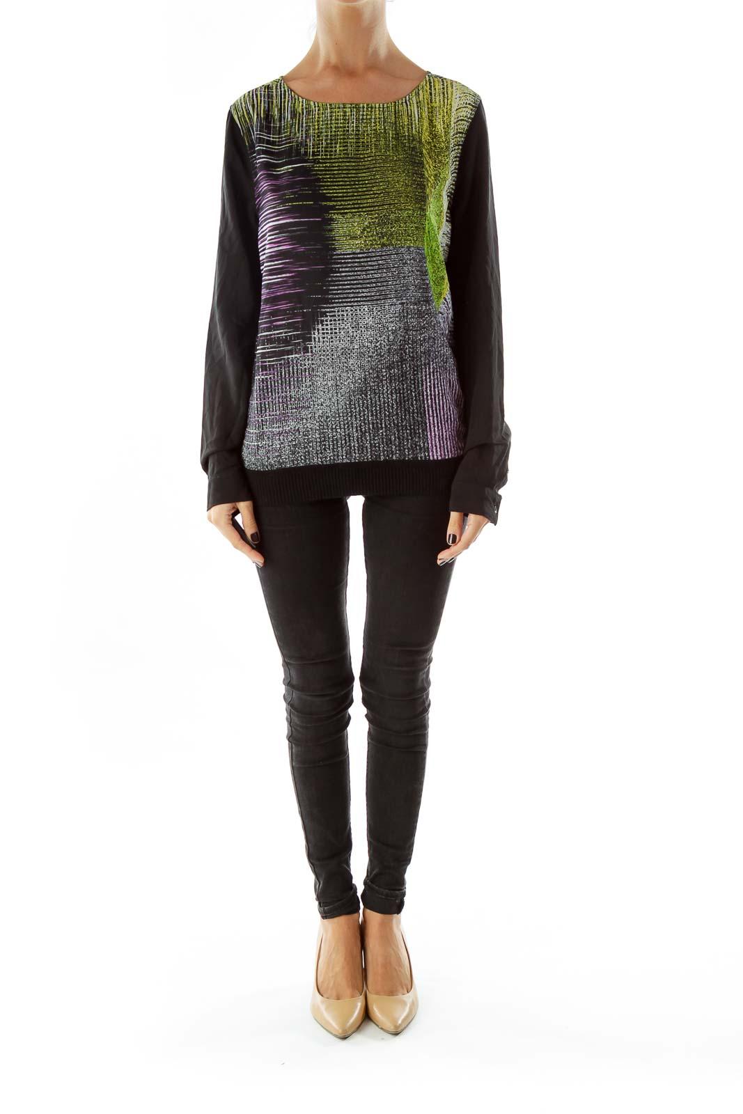 Black Green Purple Print Sheer T-Shirt