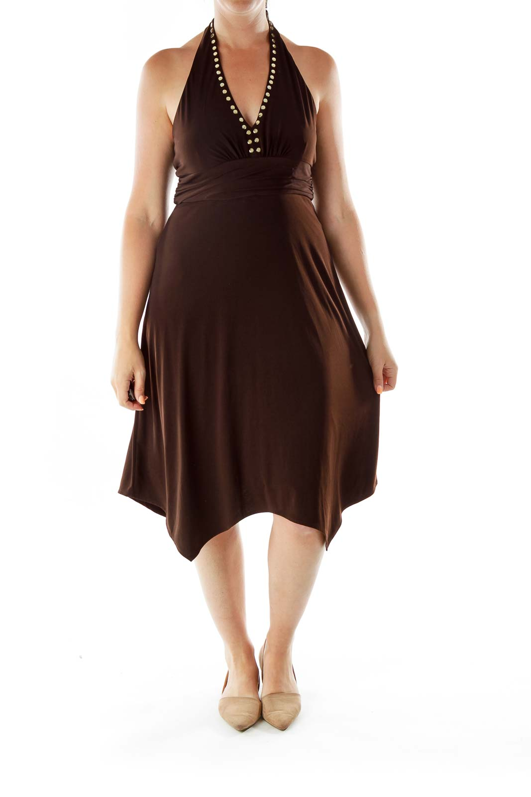 Brown Studded Halter Dress