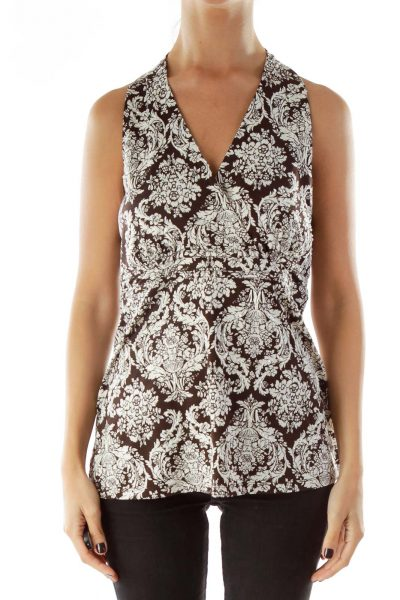 Brown White Beaded Print Tank Top
