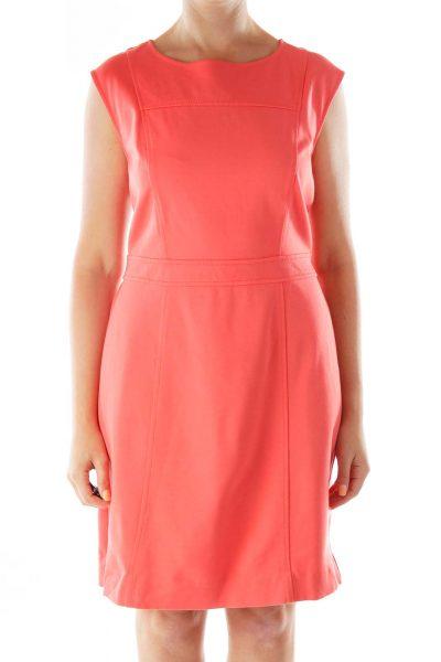Peach A-Line Work Dress
