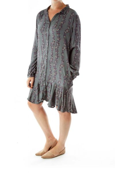 Blue Gray Floral Shirt Dress
