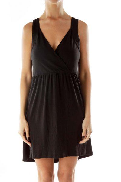 Black Loose Wrap Dress