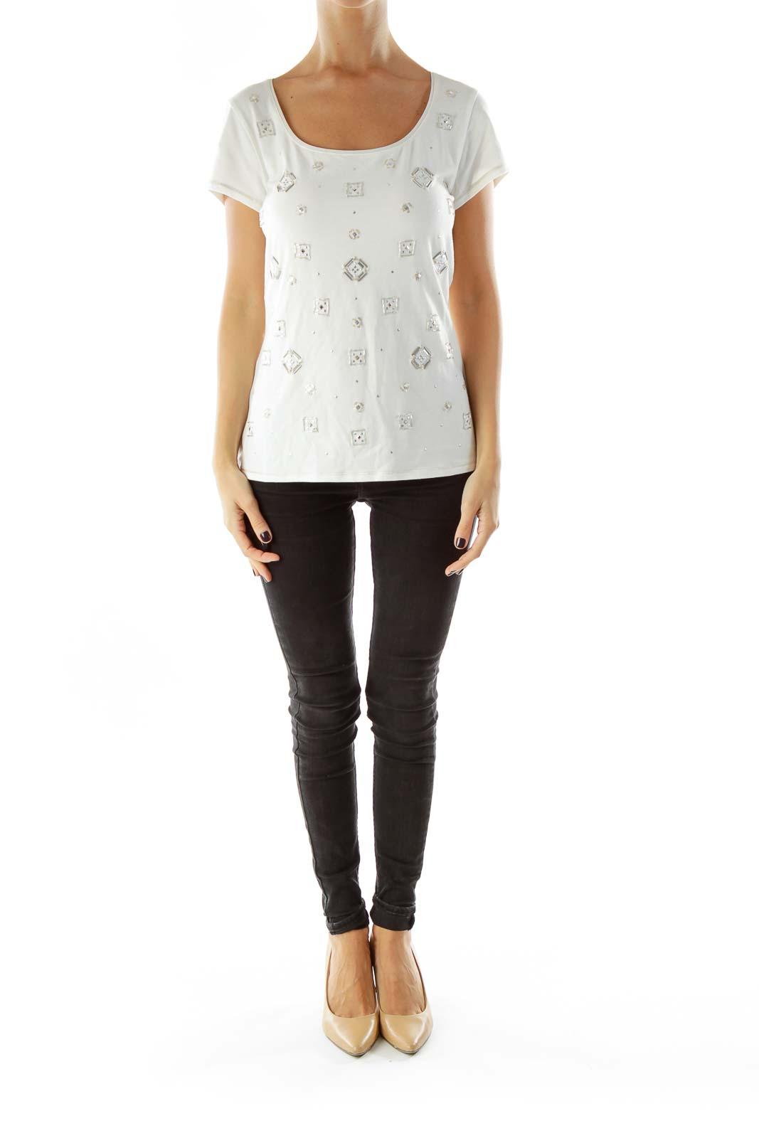 White silver Beaded Geometric T-shirt