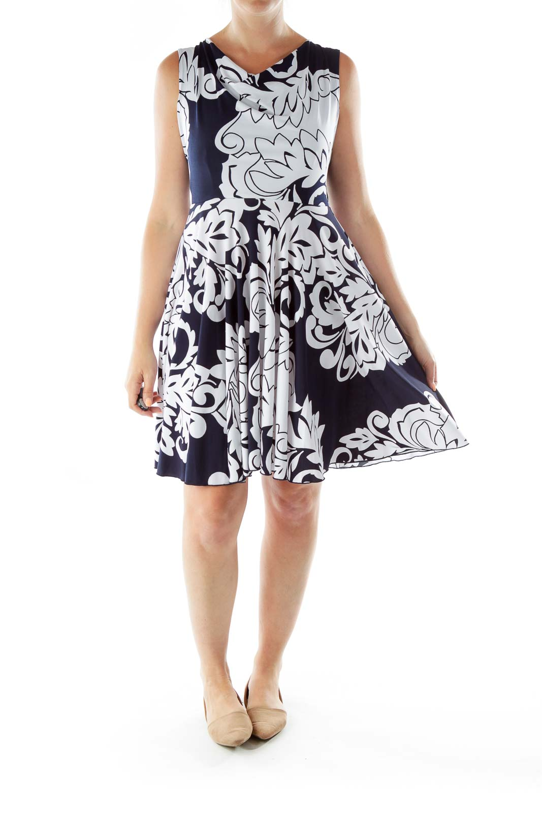 Navy White Print Sleeveless Day Dress