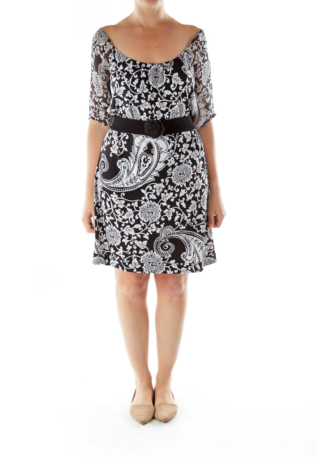 Black White Belted Print Dress