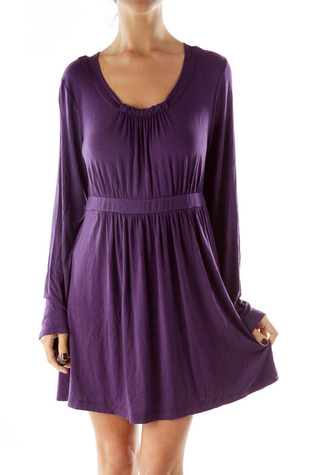 Purple Scrunched Loose Day Dress