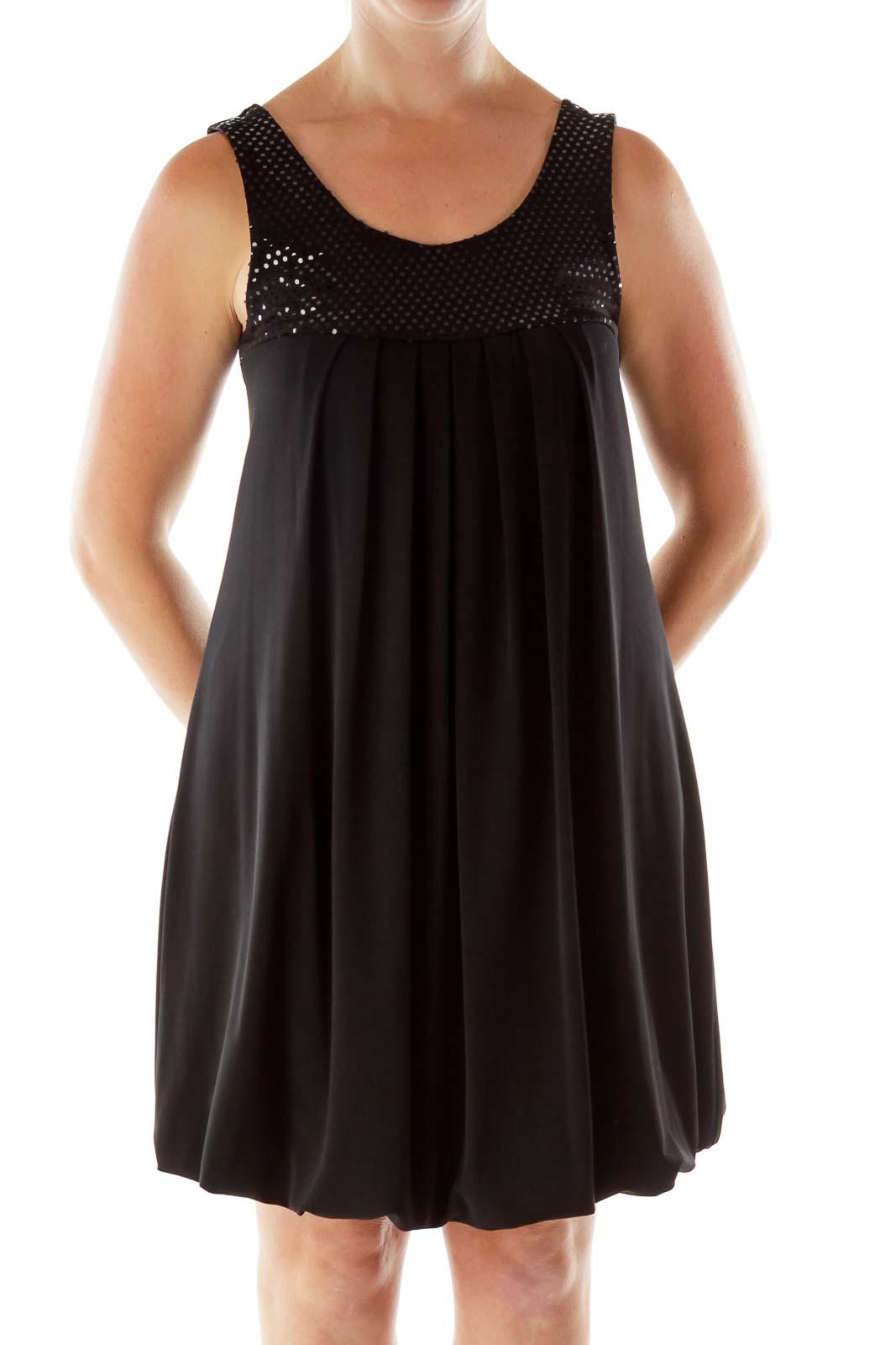 Black Pleated Sleeveless Dress