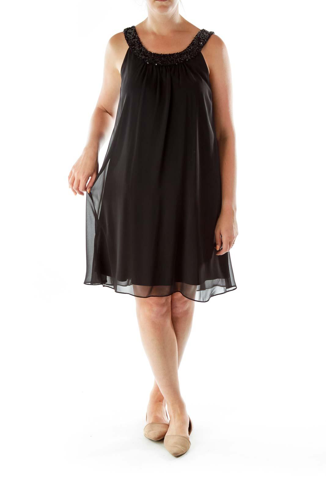 Black Sequined Sleeveless Shift Dress