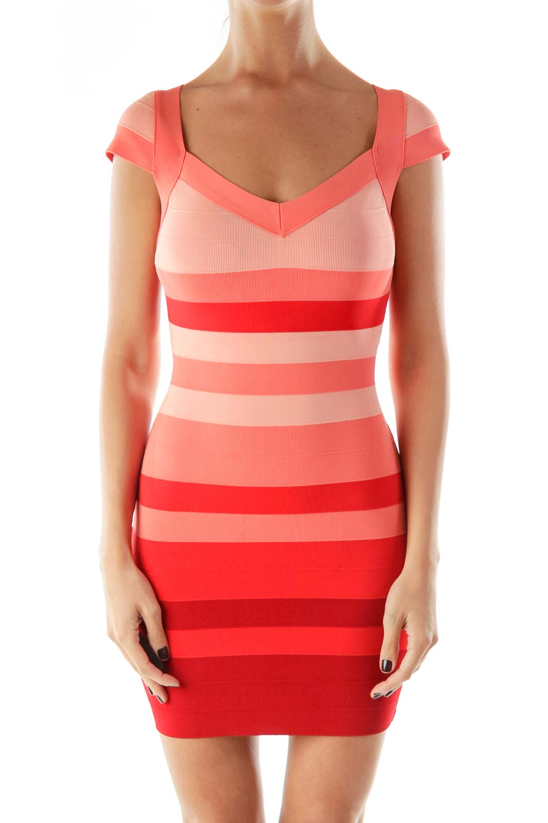 Pink Red Body Con Dress