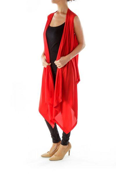 Red Sheer Open Vest
