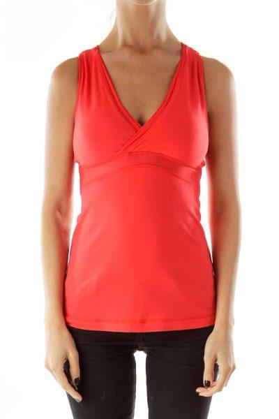 Red Orange Elastic Sports Top