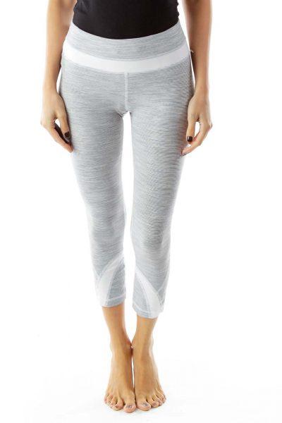 Gray White Striped Yoga Pants