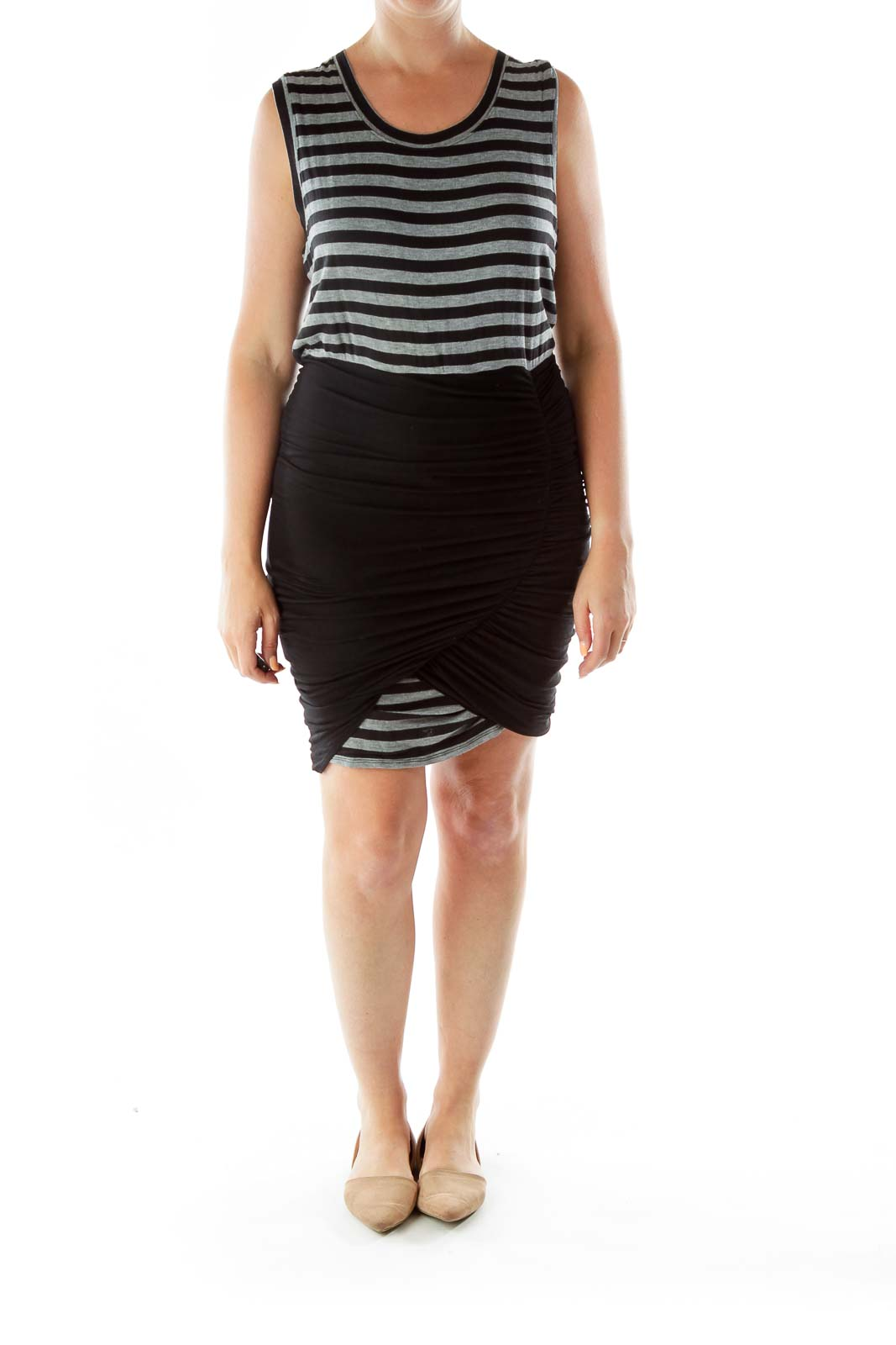 Black Gray Scrunched Striped Dress
