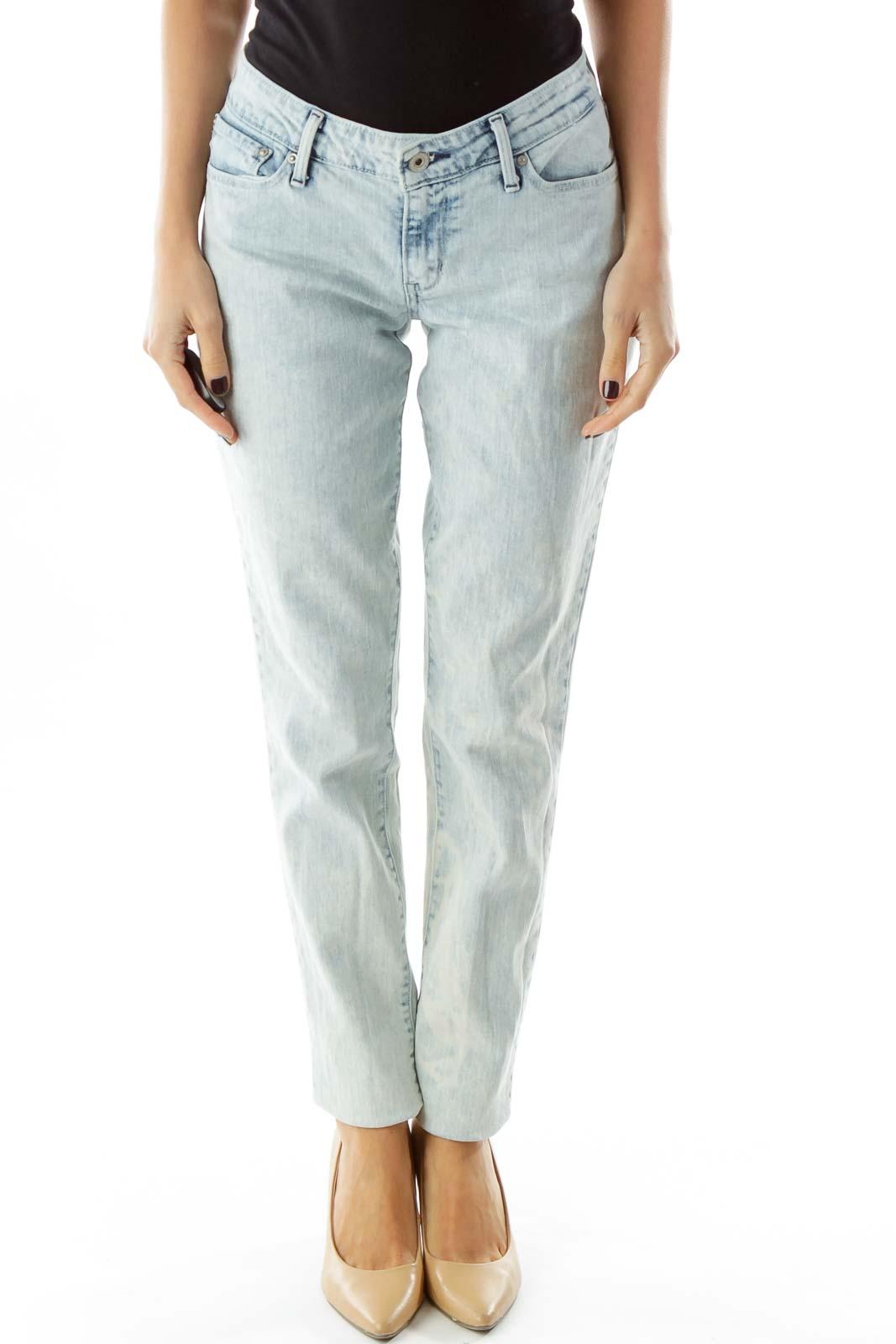 Light Washed Denim Straight Leg Jeans