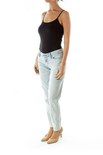 Light Washed Denim Straight Leg Jeans
