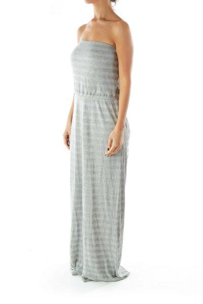 Silver Gray Bustier Sparkle Maxi Dress