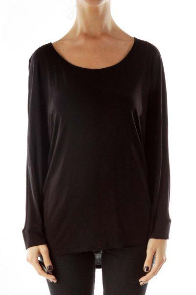 Black Loose Long-Sleeve T-Shirt