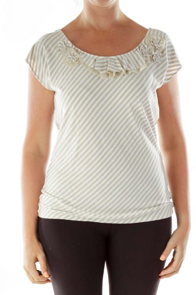 Beige White Ruffled Striped Sparkly Top