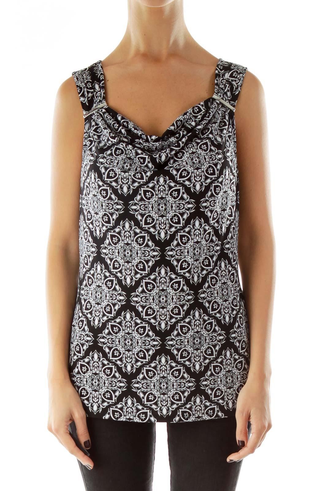 Black White Jewel Neckline Top