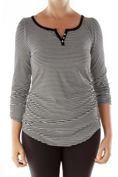 Black White Striped T-Shirt Silver Buttons