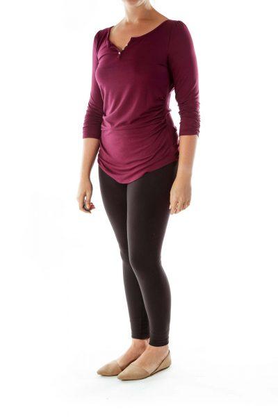 Purple Long-Sleeve T-Shirt w/ Silver Buttons