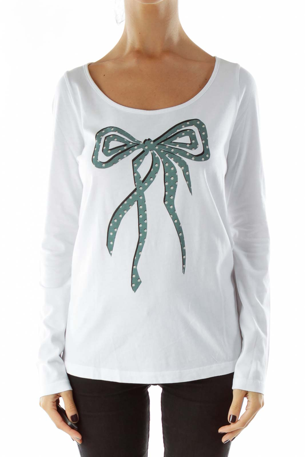 White Bow-Tie Print Shirt