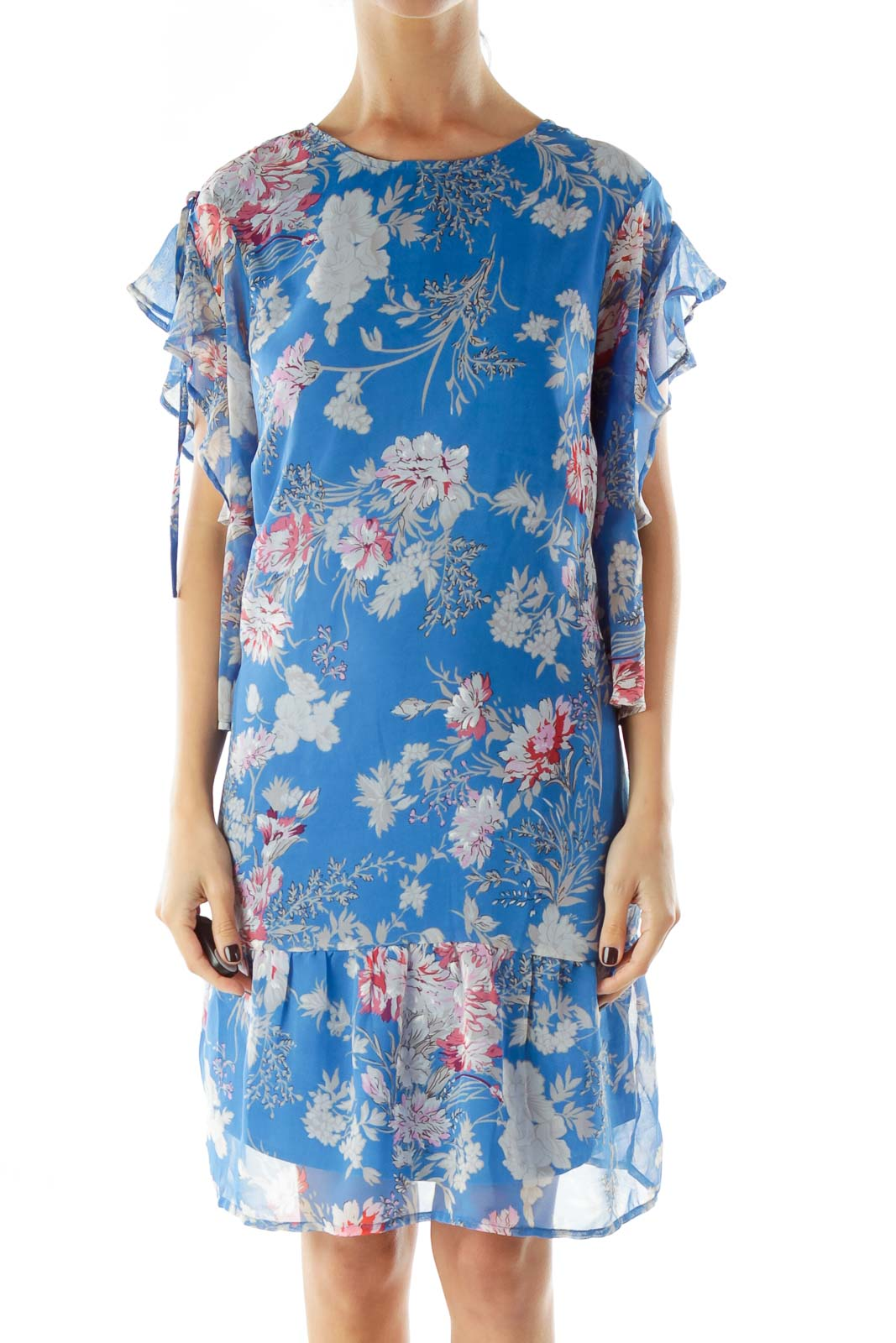 Blue Floral Print Day Dress