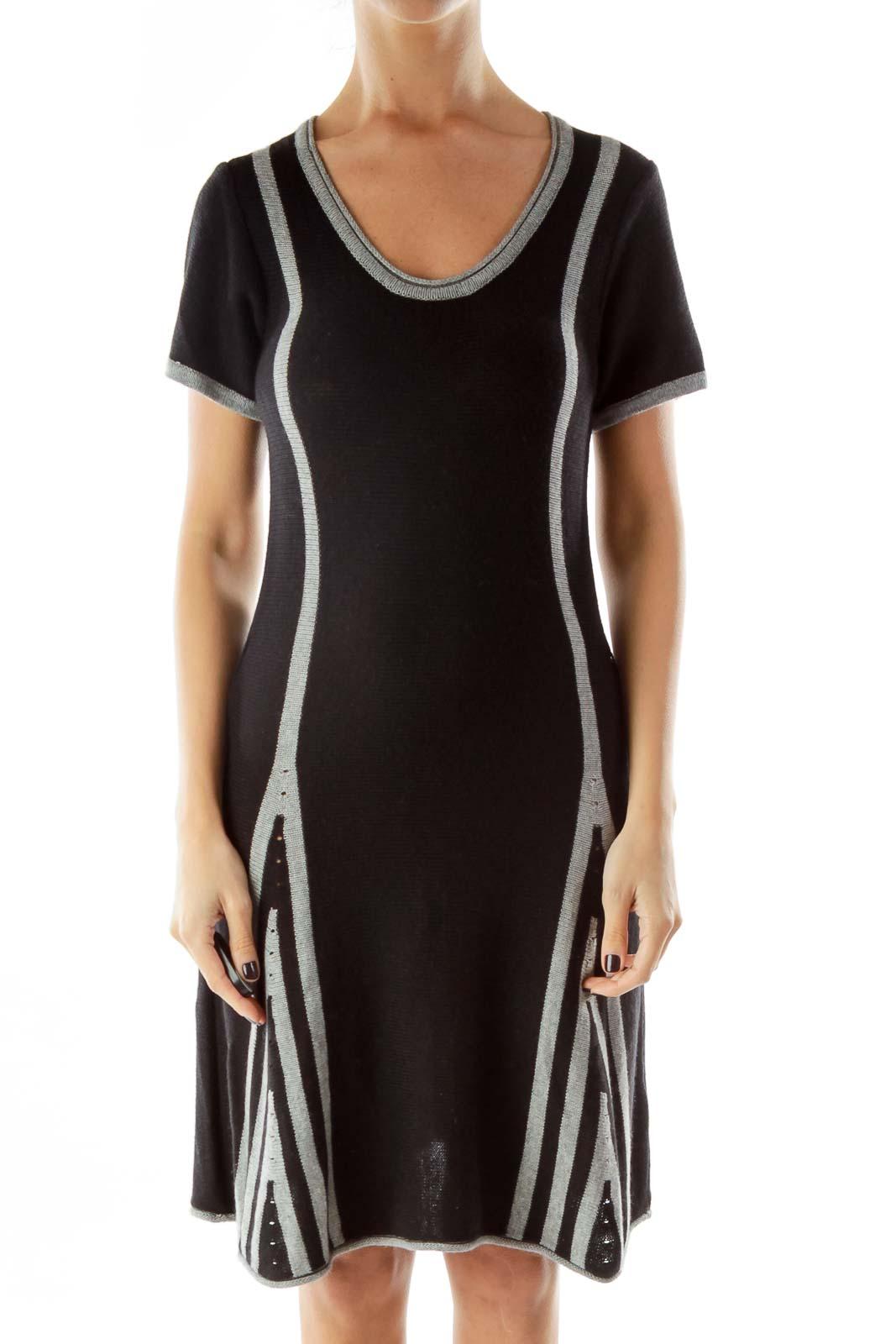 Black Gray Knit Day Dress