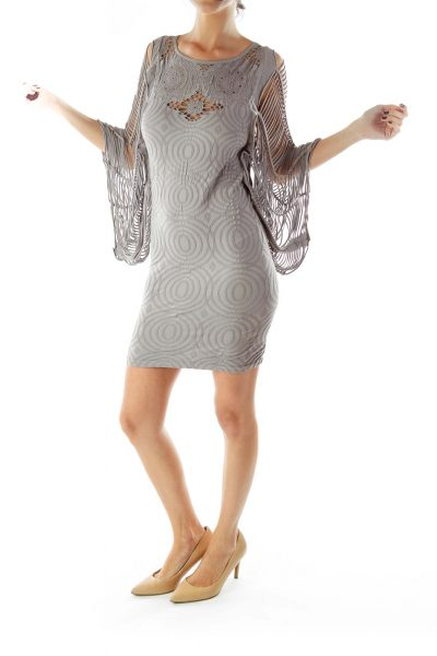 Gray Textured Distressed Day Dress