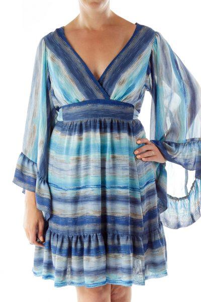 Blue Print V-neck Day Dress
