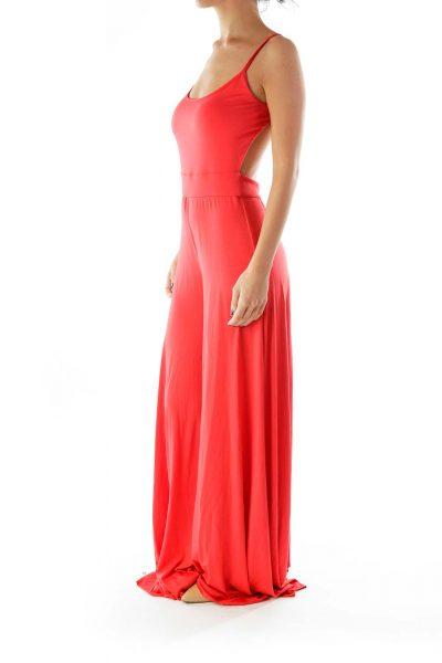 Red Sleeveless Jumpsuit