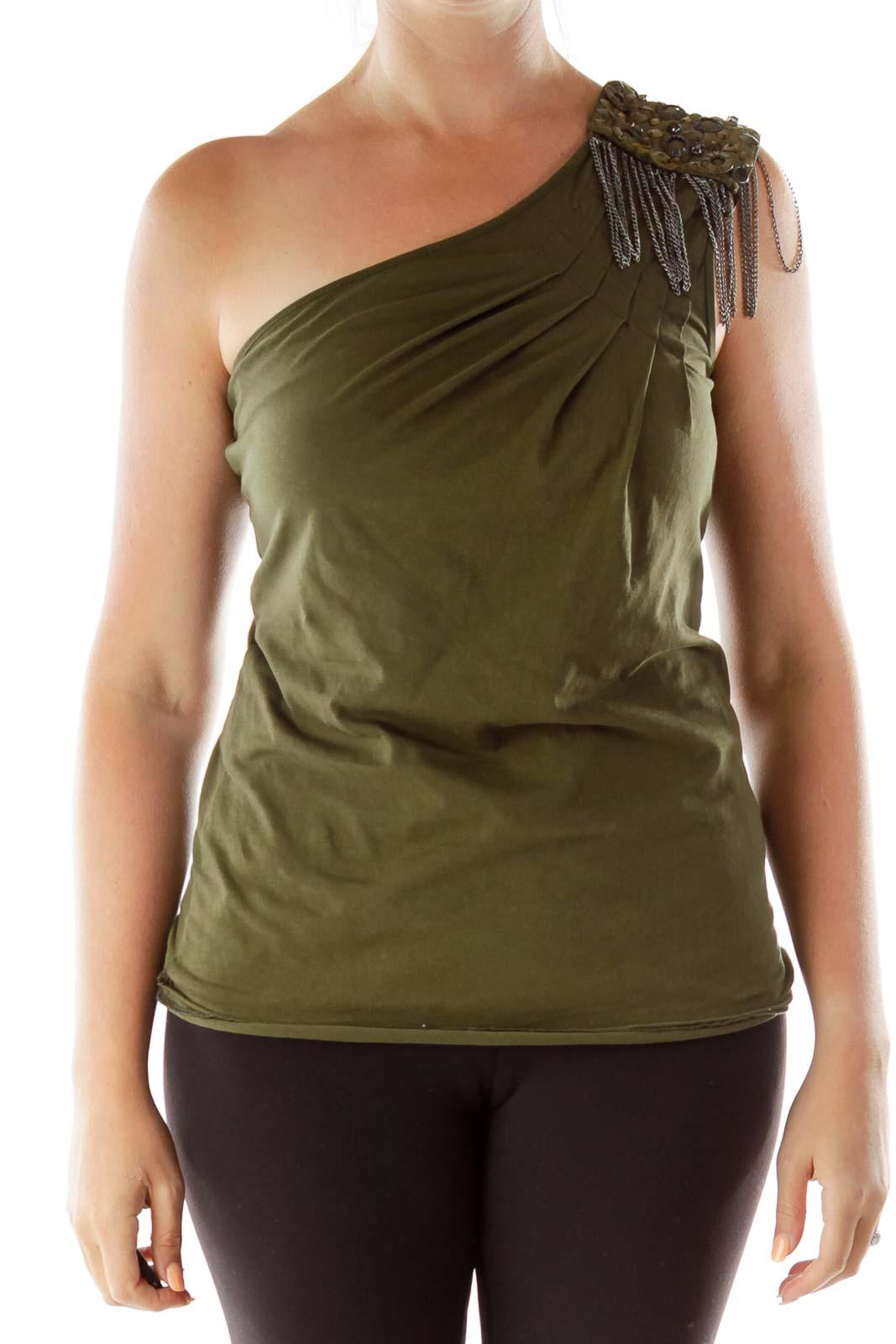 Green One-Shoulder Studded Top