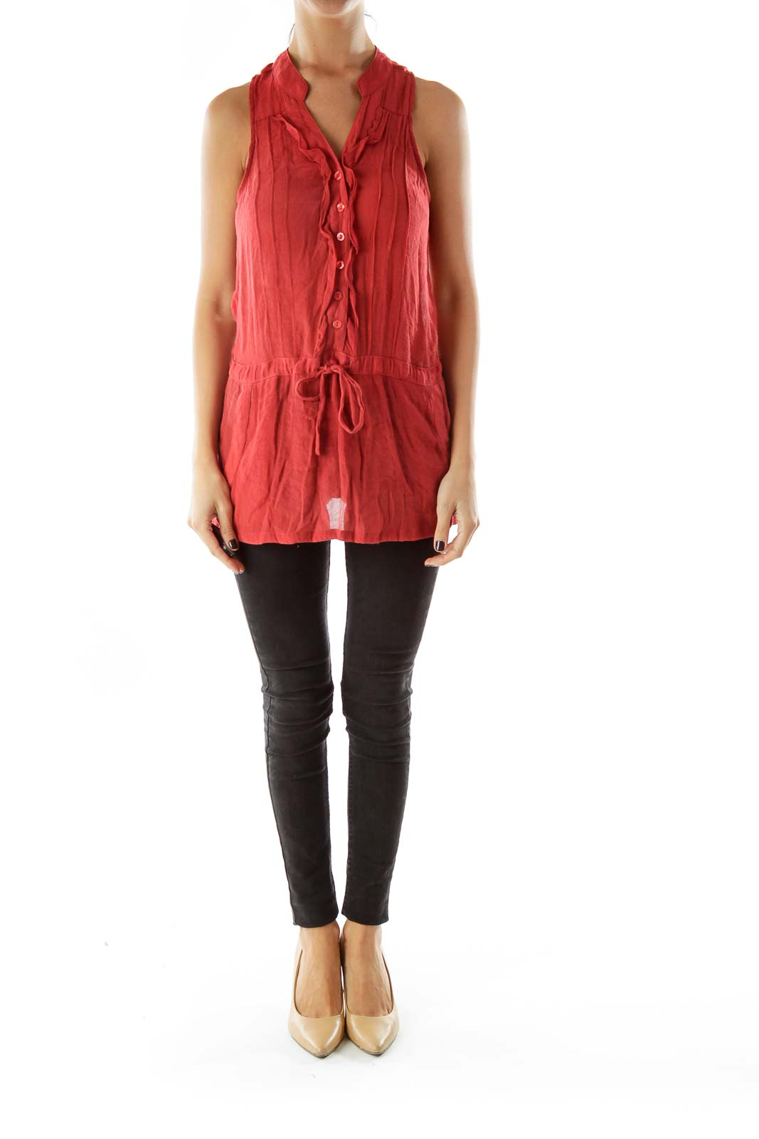 Red Sleeveless Buttoned Blouse