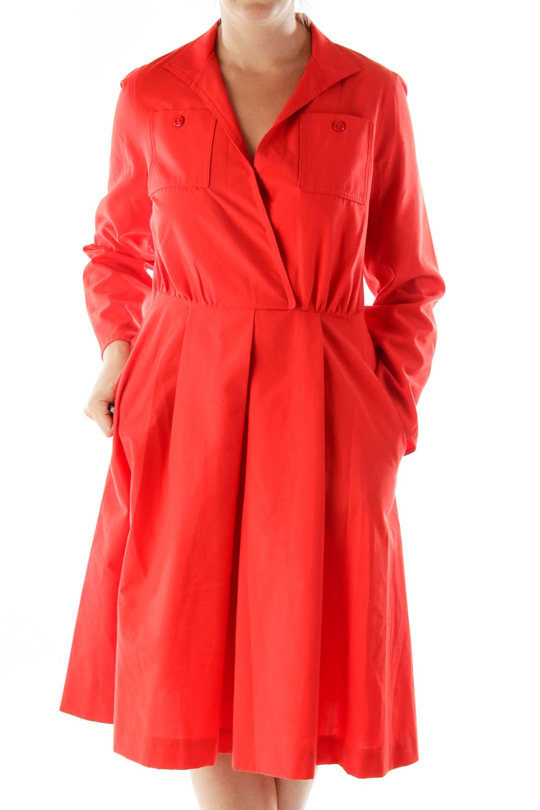 Red Collared Buttoned Pocketed Work Dress