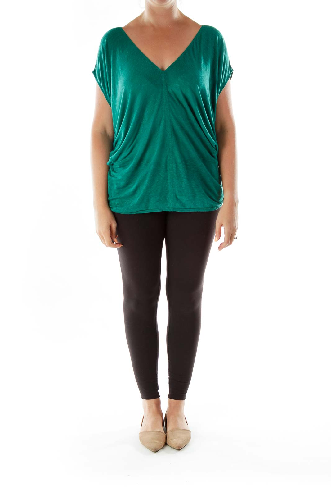 Green V-neck Bat-sleeve T-shirt