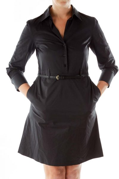 Black Belted Shirt Work Dress