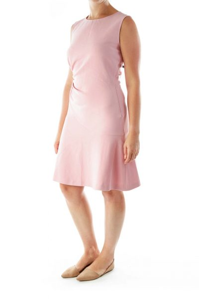 Pink Scrunched RoundNeck Day Dress