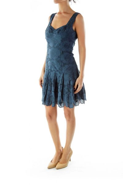 Blue Lace Pleated Straped Dress