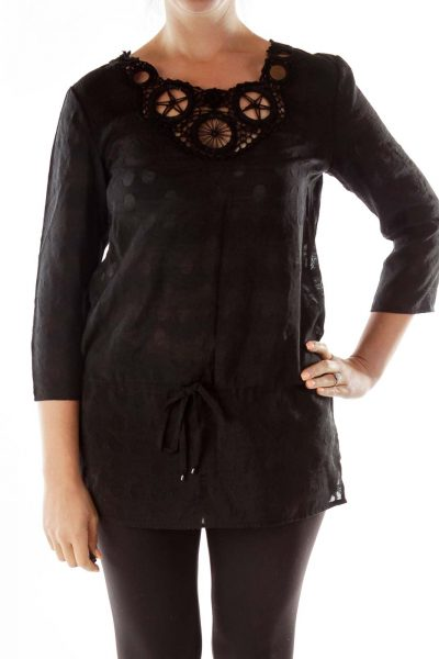 Black Crocheted Drawstring Tunic