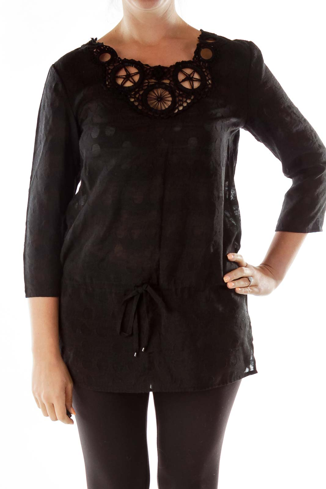 Black Crocheted Drawstring Tunic