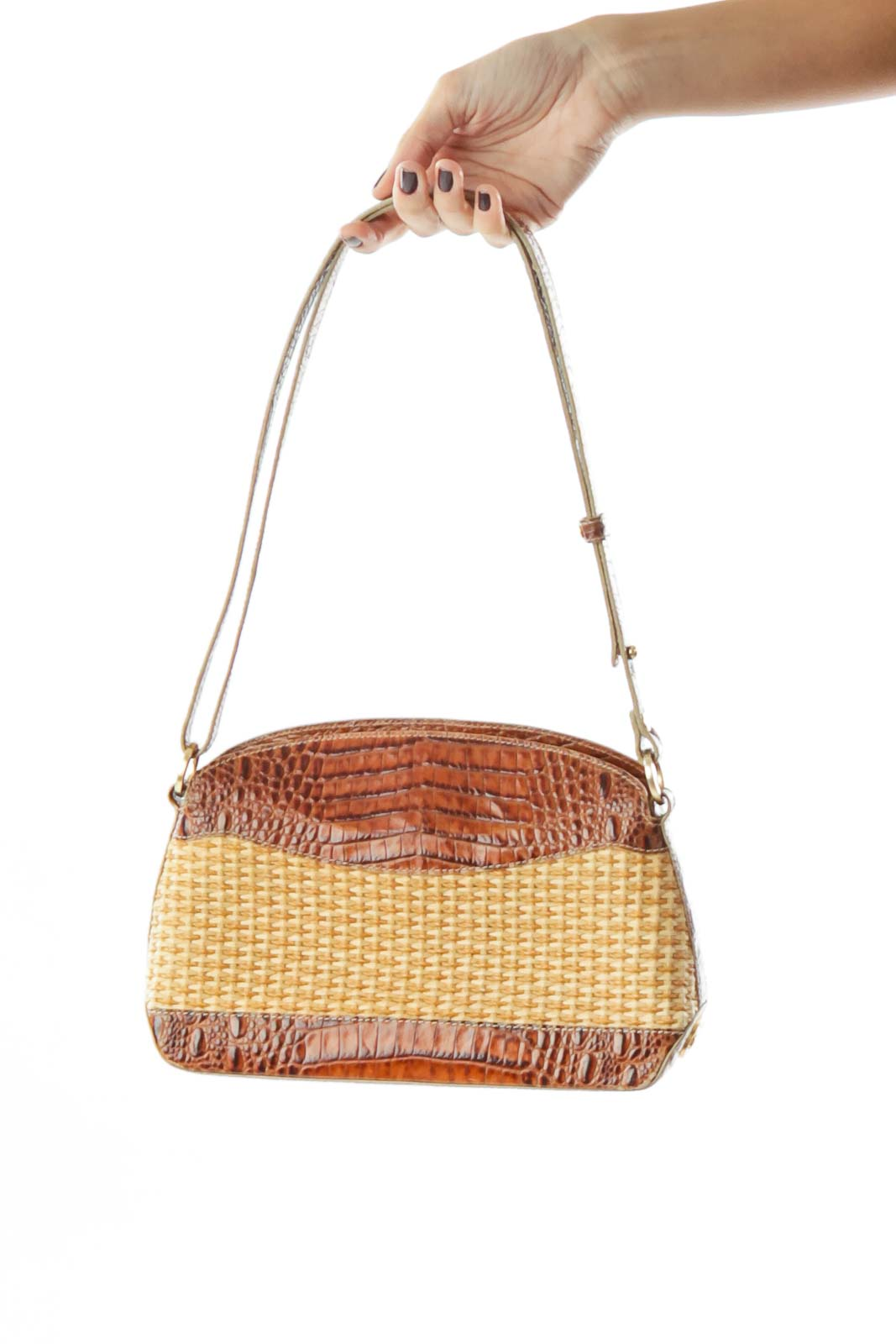 Brown Beige Alligator Woven Shoulder Bag