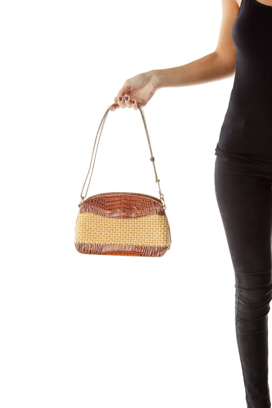 Brown Beige Alligator Woven Shoulder Bag