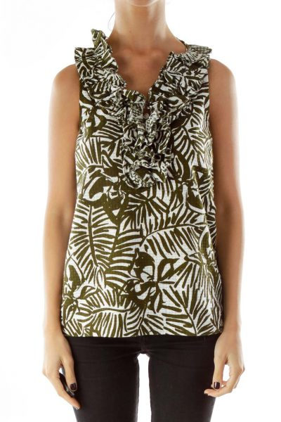 Green White Leaf Print Ruffled Tank Top